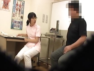 Lovely Asian nurse enjoys her older patient