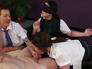 Cocksucking CFNM babe gets jizzed