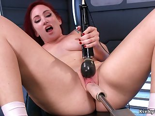 Redhead Sophia Locke fucks machine