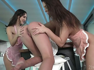 Three bodacious babes are eating strawberry and dildo fucking anal holes