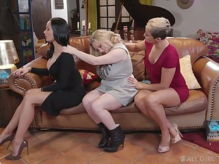 Darn great and unforgettable lesbian threesome with such a voracious Ryan Keely