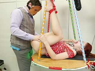 Chained and tied up chick is punished by one addicted to anal sex dude