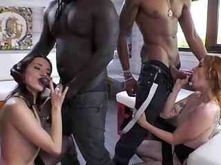 Ebony friends enticed three pretty sluts into nasty sex
