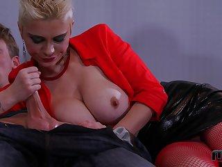Short haired blonde bimbo Mila Milan gets two cum shots in prison