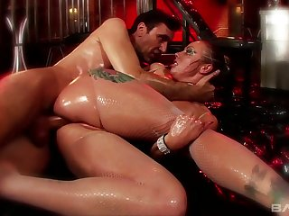 Extremely lubed whore with big rack Adrianna Nicole is fucked doggy hard