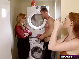 Married chick is having a casual 3some with her step- daughter-in-law and her jaw-dropping stud