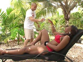 MILF ebony slut Ms. Cleo seduces a younger white guy