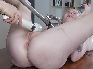 Naked blonde whore dominated in a complete XXX