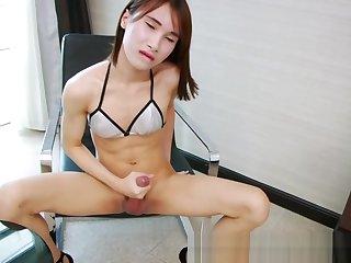 Sweet ladyboy tugging her big juicy cock until hot cum blast