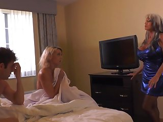 Insatiable blond damsel and her naughty pals are having a threeway, in a motel apartment