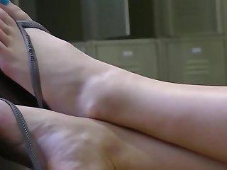 Voyeur (2): cute blonde's feet at library.