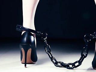 Asian Chained Treadmill Walking in Heels