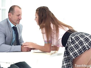 Lewd sexy coed gal in uniform Mia kisses tutor and gets poked on the desk