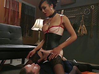 Exotic Asian T-girl Venus Lux fucks anus and deep throat of one bisexual guy