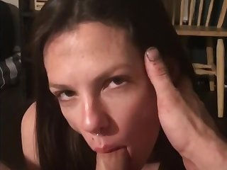 Pretty girl face fucked and jizzed on