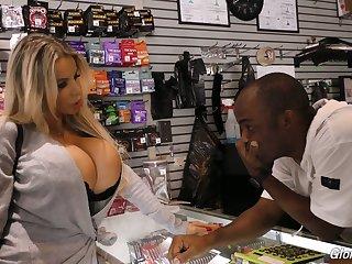 Blond bitch with king size boobs Danielle Derek enjoys crazy glory hole sex
