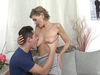 Blonde mature Irena likes to fuck with her young neighbor without mercy