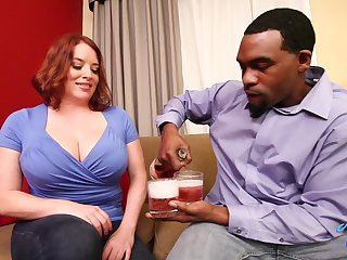 Maggie Green drinks with dude having Big Black Penis