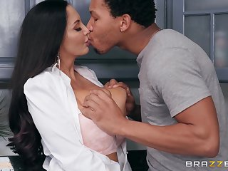 A strict mom seduces her daughter's new BF and takes his big black cock