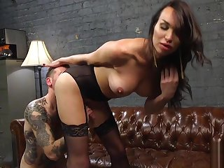 Transgender beauty assfucking after rimjob