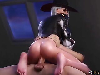 Horny video game heroes from Overwatch Mercy and Tracer get dicked well