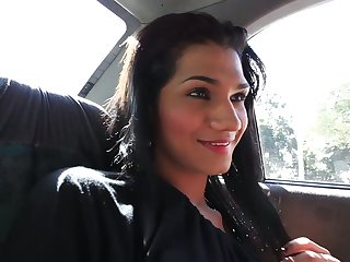 Picking up a horny transsexual slut Camila Ramirez in the taxi
