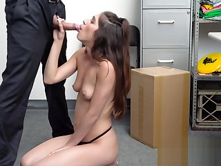 The hottest thief gets caught by the pervert security guard and decides to fuck her in rough sex