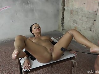 Tied brunette Daphne Klyde enjoys hard friend's penis in the BDSM