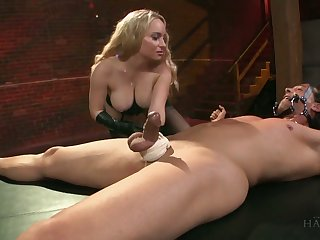 Dominant busty blonde whore Aiden Starr rides dick of crucified man