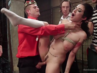Slave girl Arabelle Raphael used as a fuck doll by a group of men