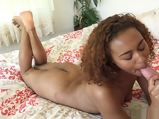 Aged man worships curly haired ebony Nami Dahlias sexy feet and fucks her