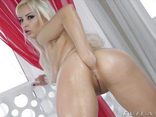 Rather flexible and slender blonde hoe Ksu Colt has some toys for anal masturbation