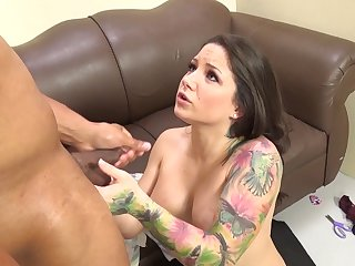 Tattooed milf with big tits gets her face fucked with a big black cock