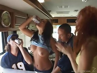 Randy slut gets toy insertion and allows DP fucking in foursome