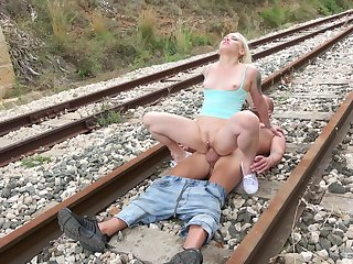 Small tits blonde slut Lola Taylor fucked on the train tracks