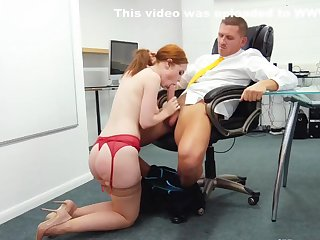 Redhead Secretary put the holes for fucking with her boss...