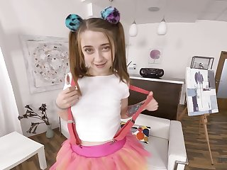 Virtual reality with pig tailed teen sucking lolly pop Alita Angel