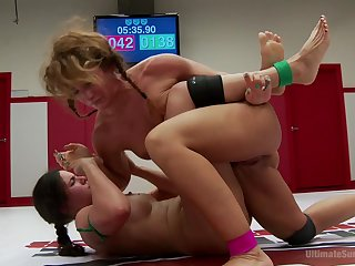 Savannah Fox and Penny Barber wrestle and play rough with toys
