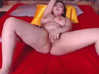 Natural Busty Asian Camgirl Fucks Toy