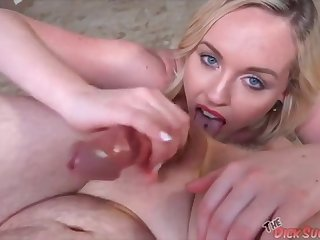 Nice blonde Miley May - rimjob blowjob POV