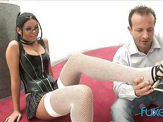 Busty nerdy bitch jams big boobs as her wet pussy is licked