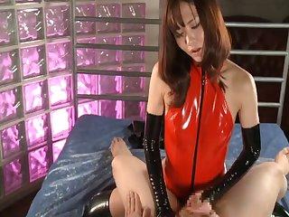 Japanese slut Nono Mizusawa in latex fucked by her man - compilation