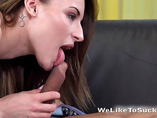 Cum-thirsty babe Victoria Daniels is sucking a big hard penis