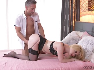 Blonde in black lingerie, insane home porn with an older man