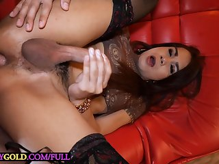 Hairy cock Asian ladyboy Nut fucked bareback anal after cock sucking