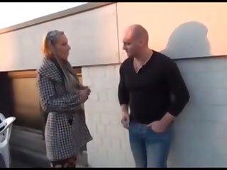 German couple fucking outdoors behind a shop- Ich wollt gern eine rauchen