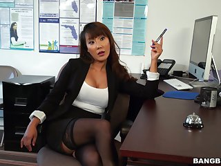 Hardcore fucking in the office with dirty Asian Tiffany Rain