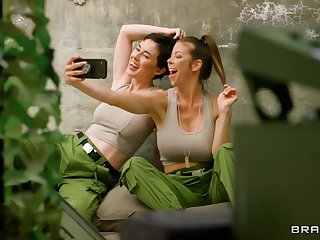 Army girls Alexis Fawx and Olive Glass pleasure each other's cravings