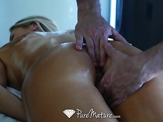 Hard working business woman Audrey Irons needs a full body massage with happy ending