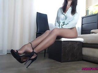 Hot secretary at home